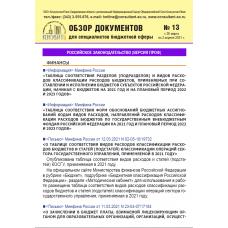 Еженедельный правовой обзор для специалистов бюджетной сферы № 13
